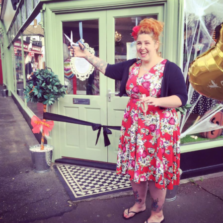 Kim Cannon at The Dressmaker shop opening Leigh Broadway